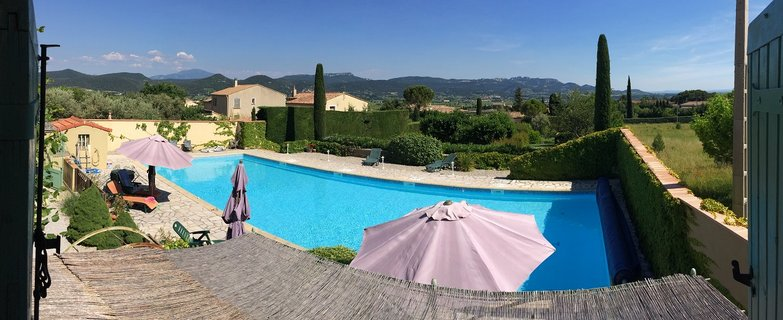 View from Cabine bedroom to Mont Ventoux and Dentelles des Montmirail